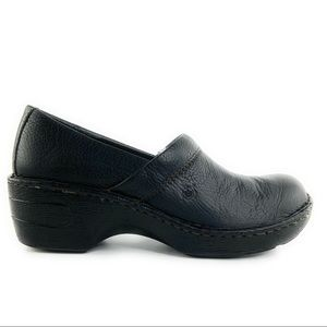 Black Pebbled Leather Born Closed Back Clogs